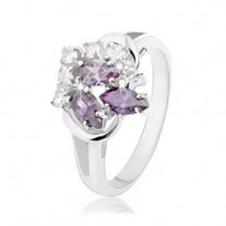Prsteň striebornej farby, rozdvojené ramená, fialové zrnká, číre okrúhle zirkóniky R33.20 - Veľkosť: 49 mm