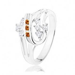Prsteň v striebornej farbe, dvojitá špirála s oranžovými a čírymi zirkónmi K6.19 - Veľkosť: 51 mm
