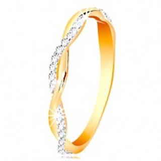 Prsteň zo 14K zlata - dve tenké prepletené vlnky - hladká a zirkónová - Veľkosť: 49 mm