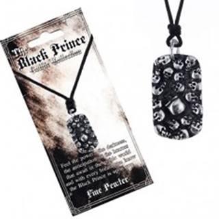 Šnúrkový náhrdelník - čierny s kovovým štítkom s lebkami
