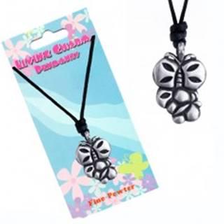 Šnúrkový náhrdelník s kovovým príveskom dvoch motýľov P4.11