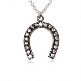 Strieborný náhrdelník 925, oceľovo sivá podkova pre šťastie, číre zirkóny SP48.05