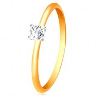 Zlatý 14K prsteň - úzke vypuklé ramená, zirkón v kotlíku z bieleho zlata - Veľkosť: 50 mm