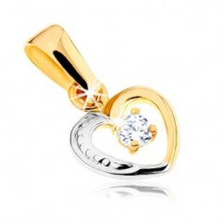 Zlatý dvojfarebný prívesok 375 - línia malého srdiečka, kamienok čírej farby