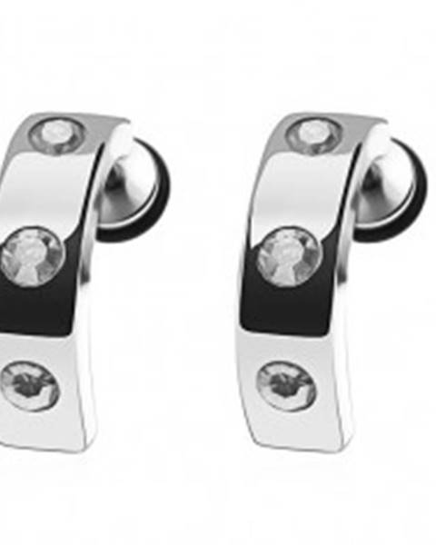 Falošný piercing do ucha z ocele - pás, číre zirkóny PC30.20
