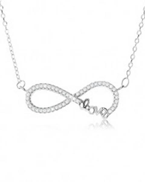 """Nastaviteľný náhrdelník - striebro 925, prívesok znak nekonečna s kamienkami, nápis """"Love"""""""