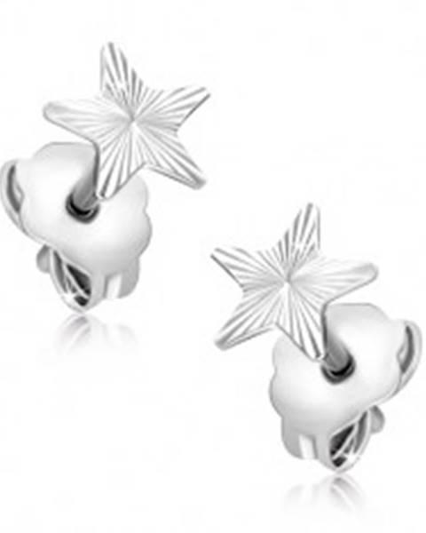 Náušnice zo 14K zlata - biela hviezda s gravírovanými lúčmi