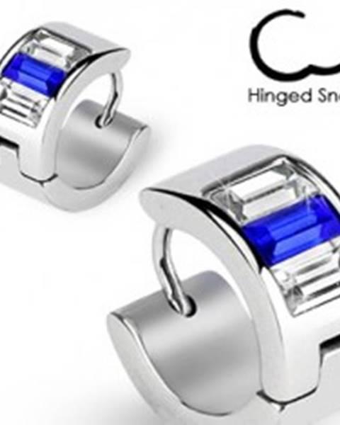Okrúhle náušnice - strieborná farba, modré a číre zirkóny