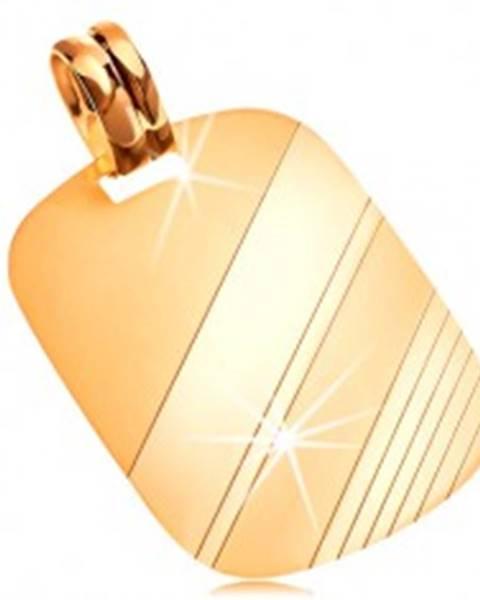 Prívesok zo žltého 14K zlata - obdĺžniková známka s lesklými a matnými pásmi GG204.08