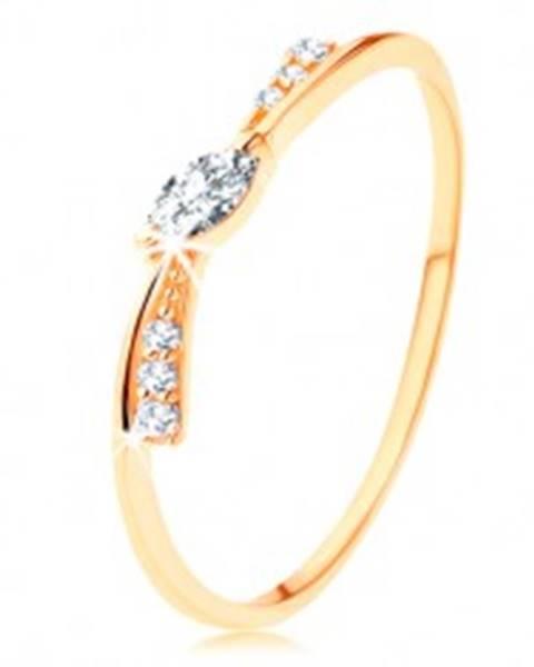 Prsteň v žltom 14K zlate - úzka mašlička zdobená čírymi zirkónmi - Veľkosť: 49 mm