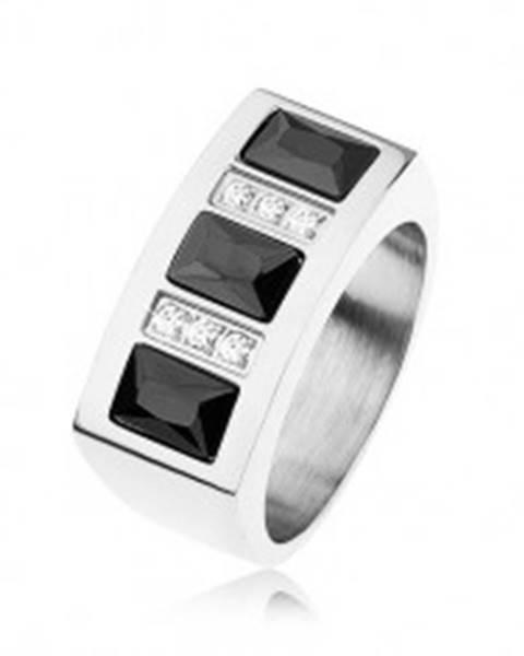 Prsteň z ocele 316L vykladaný ligotavými zirkónmi v čiernej a čírej farbe - Veľkosť: 56 mm