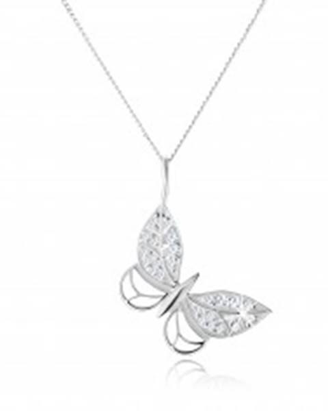 Strieborný náhrdelník 925, kontúra motýľa, zirkónové zdobenie, nastaviteľný SP56.21