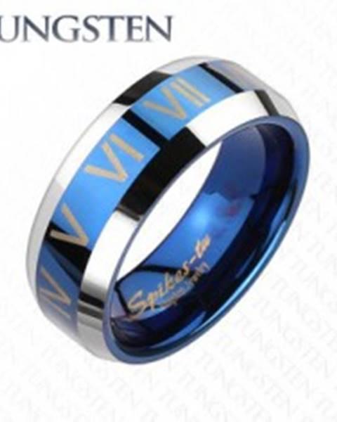 Tungstenový prsteň - modro striebornej farby, rímske čísla - Veľkosť: 49 mm