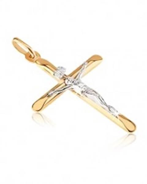 Zlatý prívesok 585 - kríž s oválne skosenými cípmi a Kristom GG06.03