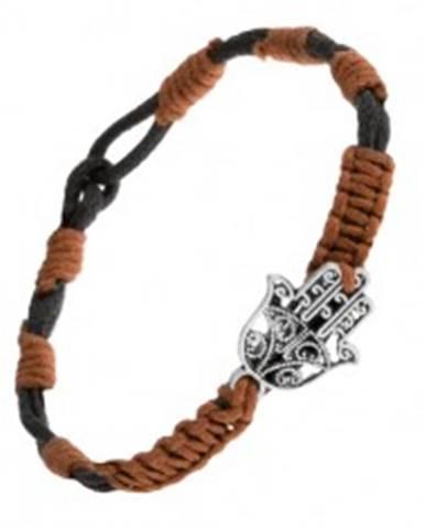 Čierno-hnedý šnúrkový náramok s príveskom vyrezávanej ruky Fatimy SP52.08