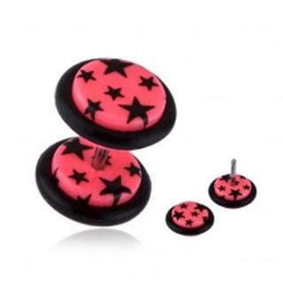 Fake plug do ucha z akrylu - čierne hviezdy, ružový podklad