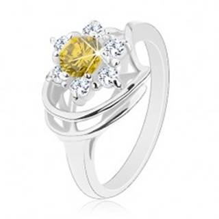 Lesklý prsteň v striebornom odtieni, okrúhly žlto-zelený zirkón, číre zirkóny - Veľkosť: 50 mm