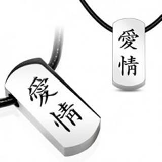 Náhrdelník s oceľovým príveskom - čínske znaky, kožená šnúrka