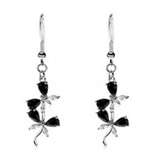 Náušnice z ocele 316L - spojené motýliky, čierne a číre zirkóny