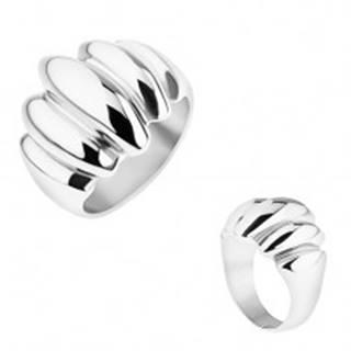 Oceľový prsteň striebornej farby, zrkadlový lesk, vypuklé ovály - Veľkosť: 57 mm