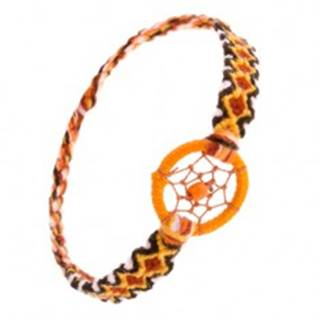 Oranžový náramok z vlny, kosoštvorcový vzor, krúžok s guličkou SP50.23