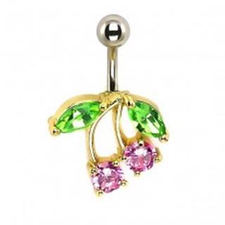 Piercing do pupku - čerešne, ružové a zelené zirkóny, podklad zlatej farby I13.10