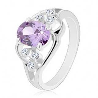 Prsteň s rozdelenými ramenami, zvlnené línie, oválny zirkón fialovej farby R30.18 - Veľkosť: 49 mm