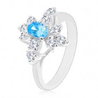 Prsteň so zirkónom v akvamarínovej farbe, zúžené ramená, číre zirkóny - Veľkosť: 59 mm