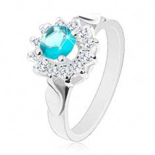 Prsteň striebornej farby, modro-číry zirkónový kvet, lesklé lístky po stranách - Veľkosť: 49 mm