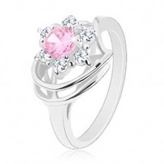 Prsteň v striebornej farbe, ružovo-číry zirkónový kvet, lesklé oblúky G04.06 - Veľkosť: 49 mm