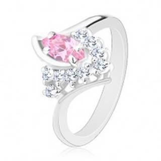 Prsteň v striebornom odtieni so zahnutými ramenami, ružovo-číre zirkóny G04.09 - Veľkosť: 49 mm