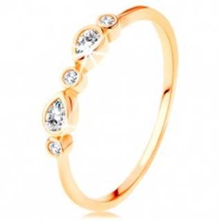 Prsteň v žltom 14K zlate - okrúhle a slzičkové zirkóny čírej farby, lesklé ramená - Veľkosť: 49 mm
