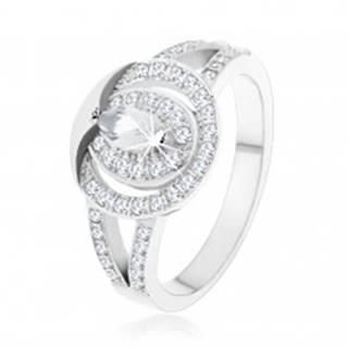 Strieborný prsteň 925, číra zirkónová obruč so zrnkovým zirkónom v strede - Veľkosť: 48 mm