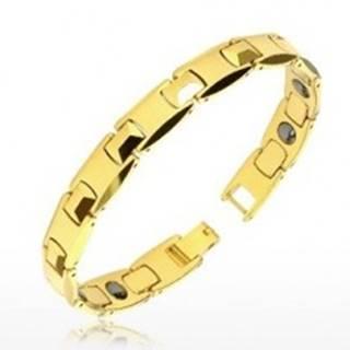 """Tungstenový náramok zlatej farby - lesklé """"H"""" články, pyramídky, magnetické guličky"""