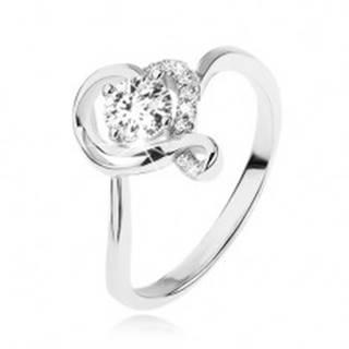 Zásnubný prsteň zo striebra 925, okrúhly číry zirkón v obryse zvlneného srdca - Veľkosť: 49 mm