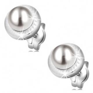 Zlaté náušnice 585 - kruh zdobený zárezmi a bielou perlou, puzetky