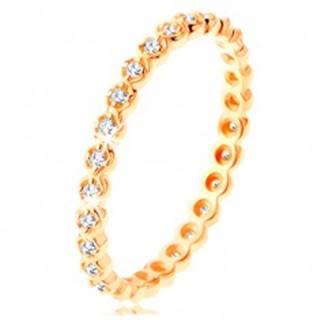Zlatý prsteň 585 - okrúhle číre zirkóniky po celom obvode, zvlnené okraje - Veľkosť: 49 mm