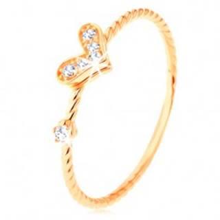 Zlatý prsteň 585, špirálovito zatočené ramená, trblietavé srdiečko, zirkón - Veľkosť: 49 mm