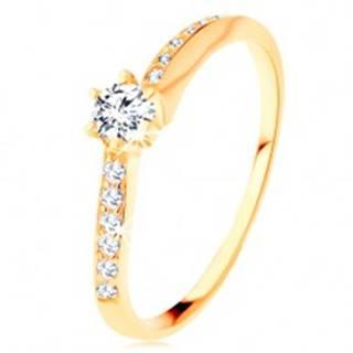 Zlatý prsteň 585 - zvlnené zirkónové ramená, vystupujúci číry zirkón - Veľkosť: 50 mm
