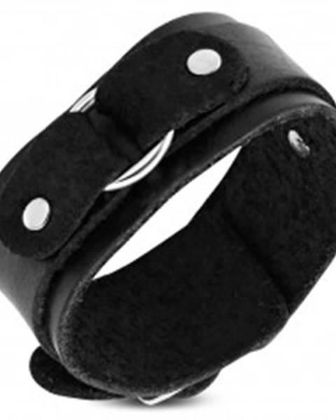 Náramok na ruku z čiernej kože, dvojvrstvový s kruhom