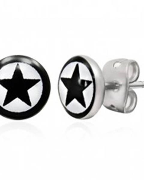 Okrúhle náušnice z ocele - čierna hviezda s lemom