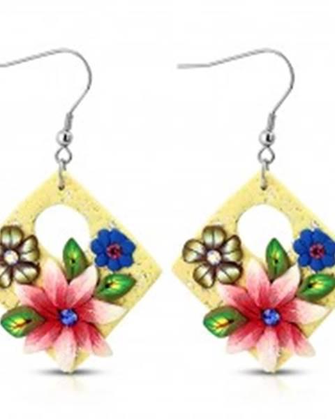 Náušnice FIMO, visiace štvorce krémovej farby s kvetmi a oválnym výrezom