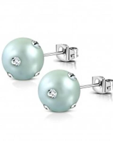 Náušnice z chirurgickej ocele - akrylová perlička sivomodrej farby, číre zirkóny