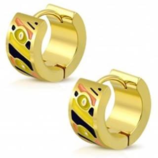 Okrúhle náušnice z ocele 316L v zlatom odtieni, glazúrované plôšky rôznych farieb