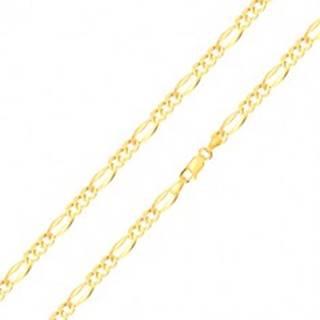 Retiazka v žltom zlate 585 s motívom Figaro - tri oválne očká, podlhovasté očko, 500 mm