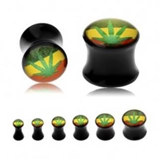 Čierny sedlový plug do ucha, zelená marihuana na pozadí s rasta farbami - Hrúbka: 10 mm