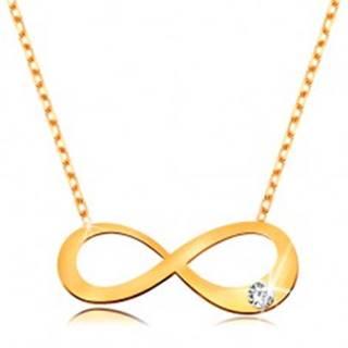 Zlatý 14K náhrdelník - plochý symbol nekonečna s čírym briliantom, ligotavá retiazka