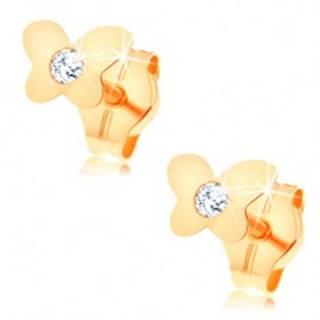 Puzetové náušnice zo žltého 14K zlata - lesklý plochý motýlik, číry zirkón GG148.12
