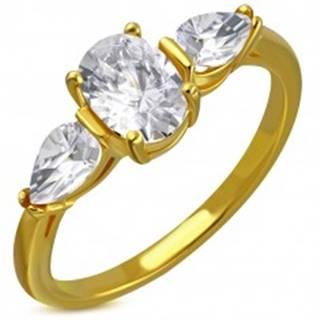 Prsteň z ocele v zlatom odtieni - číry trblietavý zirkón, zirkónové slzičky - Veľkosť: 49 mm