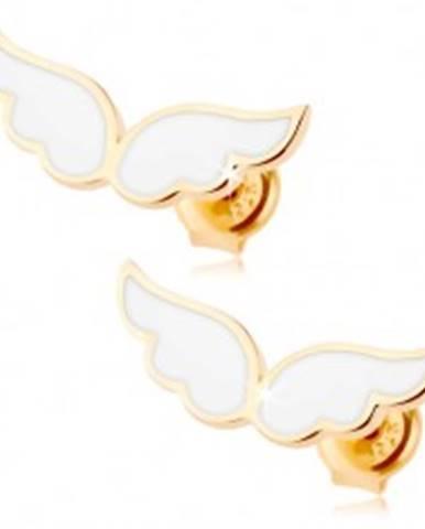 Zlaté náušnice 375 - anjelské krídla zdobené bielou glazúrou, puzetky GG66.14